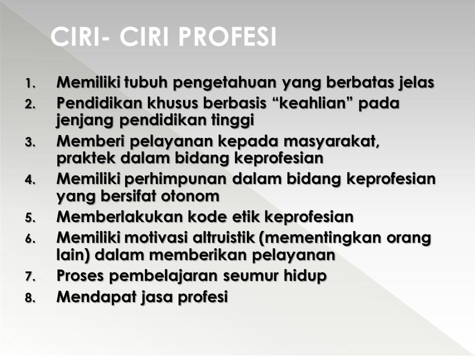 CIRI- CIRI PROFESI Memiliki tubuh pengetahuan yang berbatas jelas