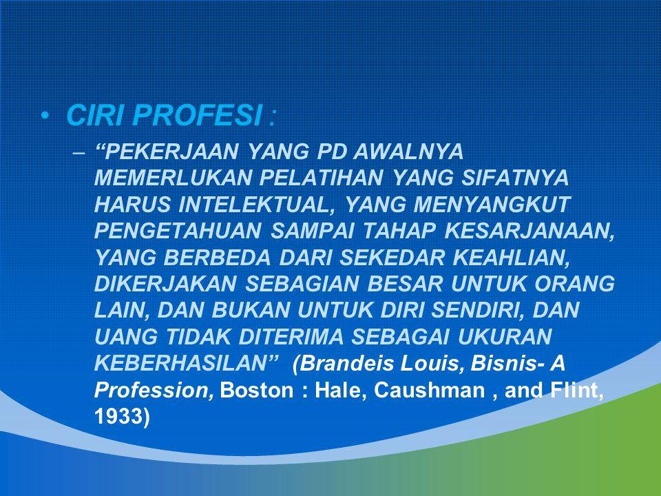 CIRI PROFESI :