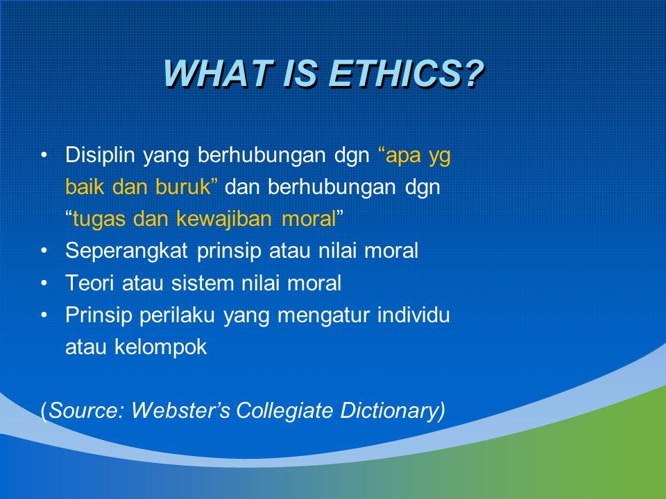 WHAT IS ETHICS Disiplin yang berhubungan dgn apa yg