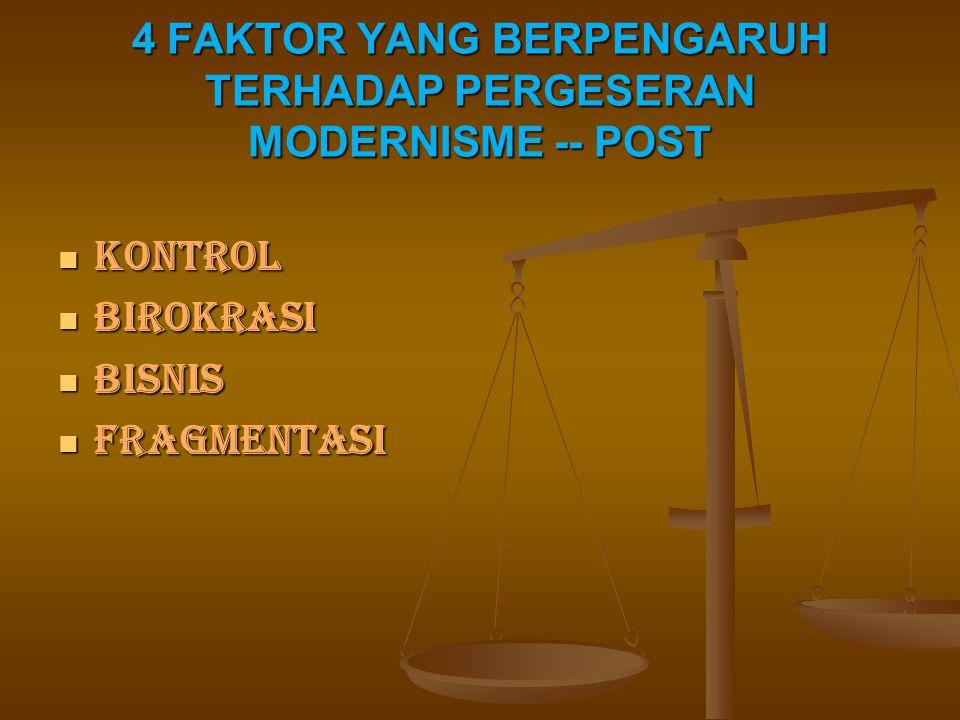 4 FAKTOR YANG BERPENGARUH TERHADAP PERGESERAN MODERNISME -- POST