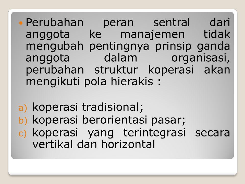 Perubahan peran sentral dari anggota ke manajemen tidak mengubah pentingnya prinsip ganda anggota dalam organisasi, perubahan struktur koperasi akan mengikuti pola hierakis :