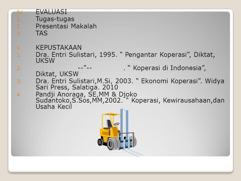 EVALUASI Tugas-tugas. Presentasi Makalah. TAS. KEPUSTAKAAN. Dra. Entri Sulistari, 1995. Pengantar Koperasi , Diktat, UKSW.