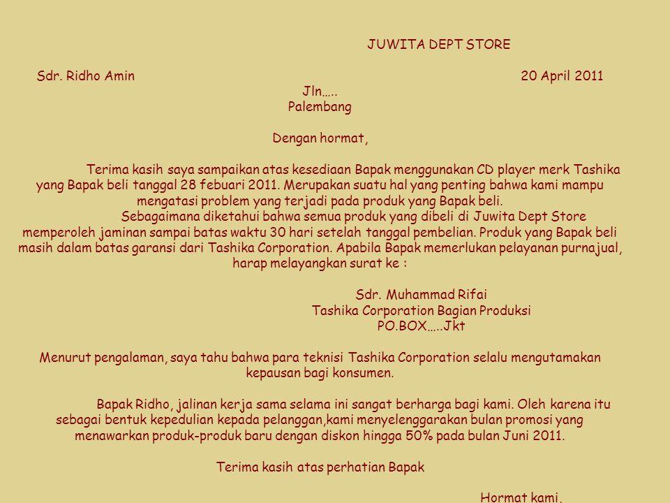 JUWITA DEPT STORE Sdr. Ridho Amin. 20 April 2011 Jln…