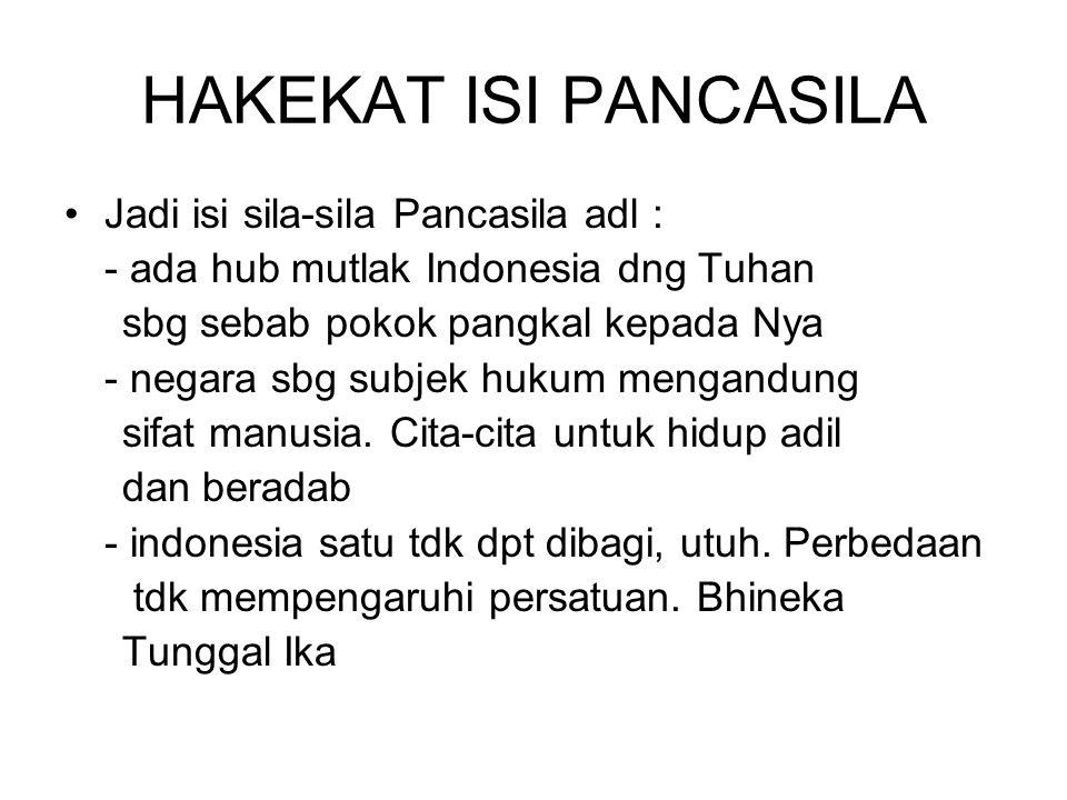 HAKEKAT ISI PANCASILA Jadi isi sila-sila Pancasila adl :