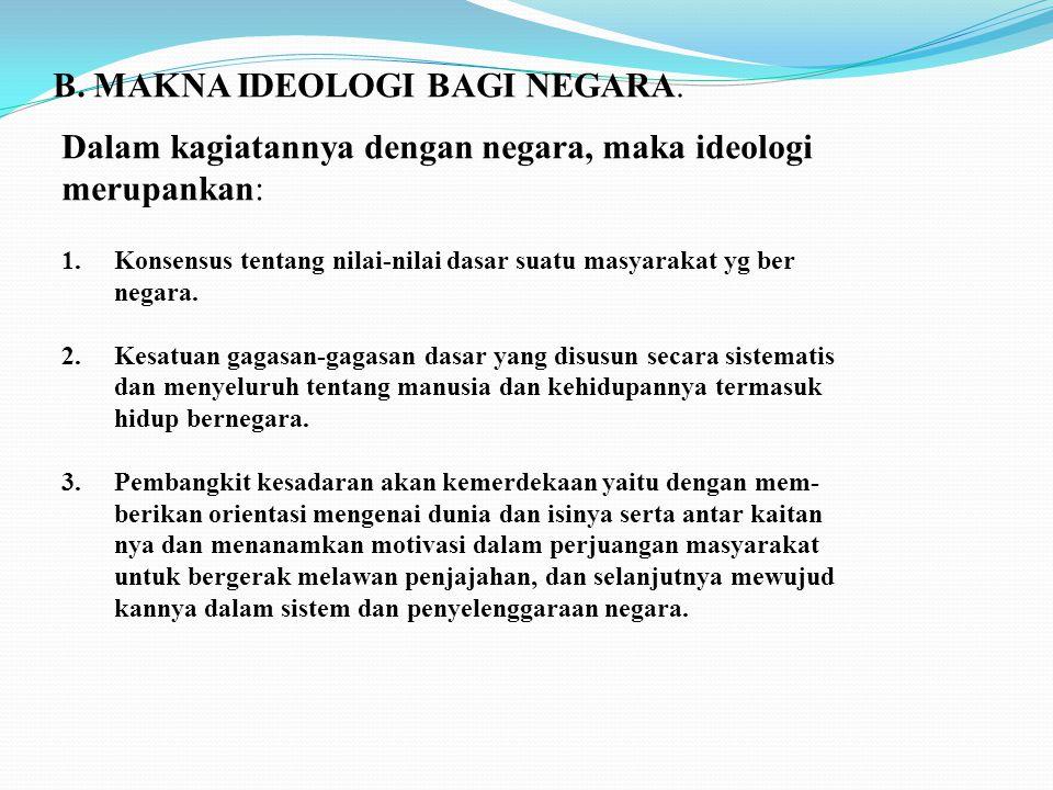 B. MAKNA IDEOLOGI BAGI NEGARA.