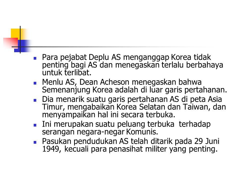 Para pejabat Deplu AS menganggap Korea tidak penting bagi AS dan menegaskan terlalu berbahaya untuk terlibat.