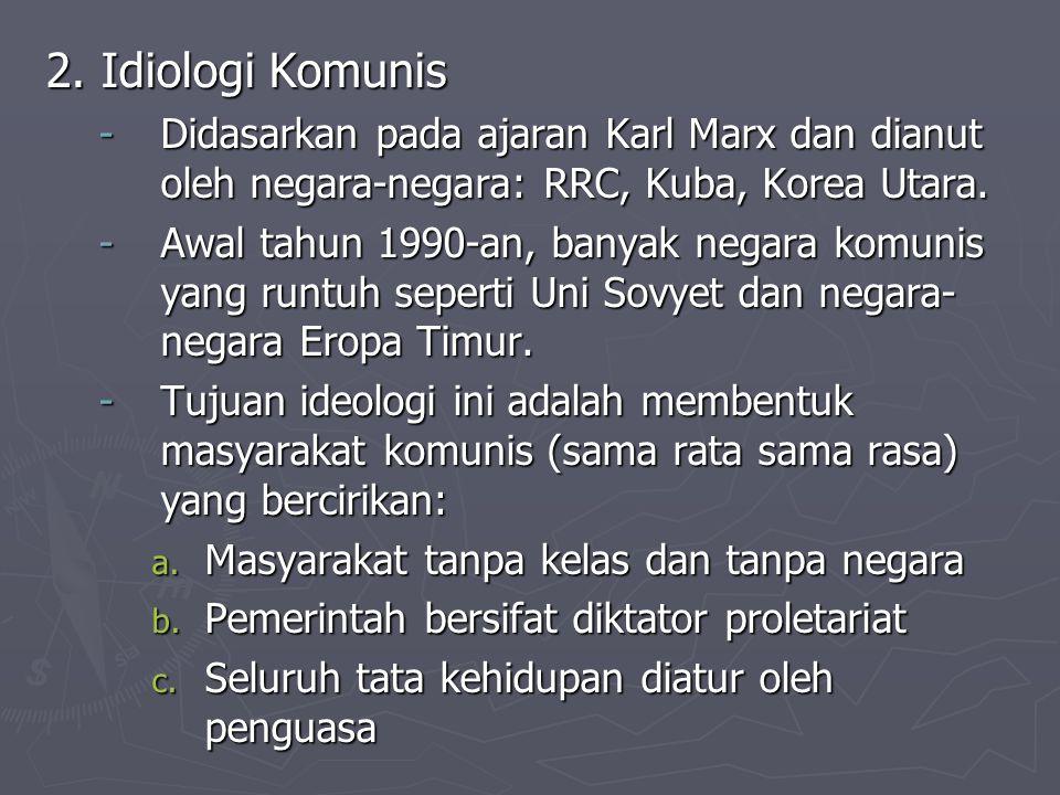 2. Idiologi Komunis Didasarkan pada ajaran Karl Marx dan dianut oleh negara-negara: RRC, Kuba, Korea Utara.