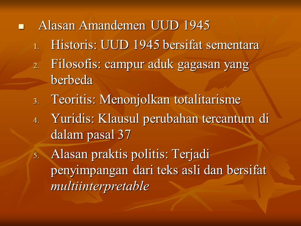 Alasan Amandemen UUD 1945 Historis: UUD 1945 bersifat sementara. Filosofis: campur aduk gagasan yang berbeda.