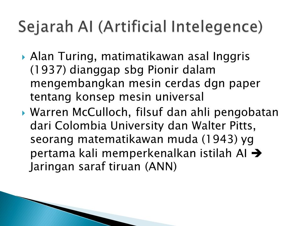 Sejarah AI (Artificial Intelegence)