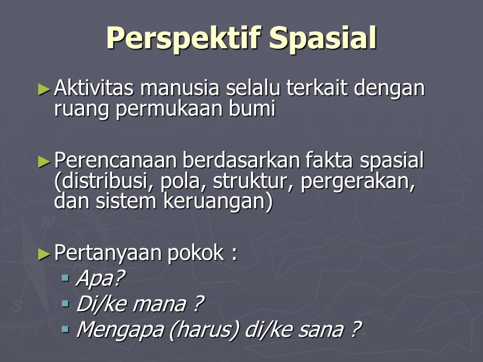 Perspektif Spasial Aktivitas manusia selalu terkait dengan ruang permukaan bumi.