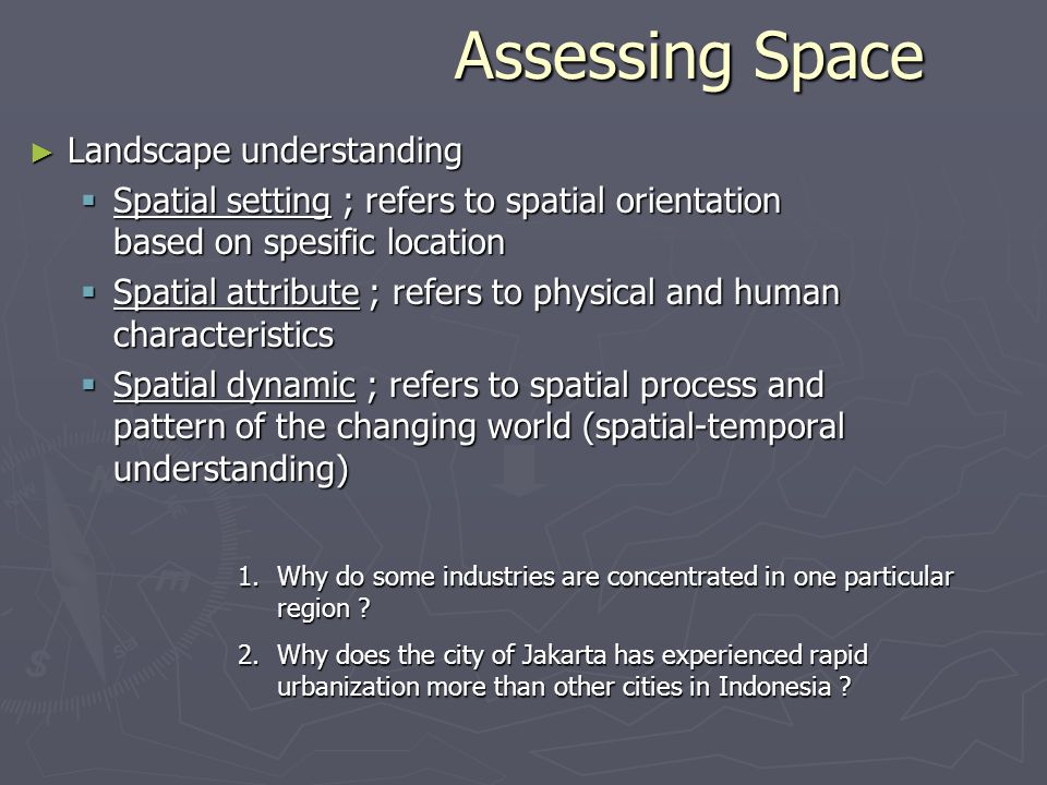 Assessing Space Landscape understanding