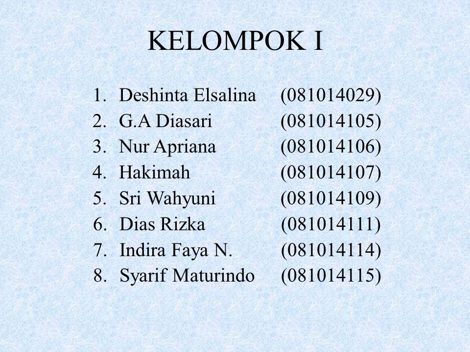 KELOMPOK I Deshinta Elsalina (081014029) G.A Diasari (081014105)