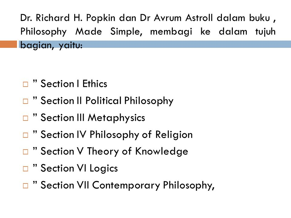 Section II Political Philosophy Section III Metaphysics