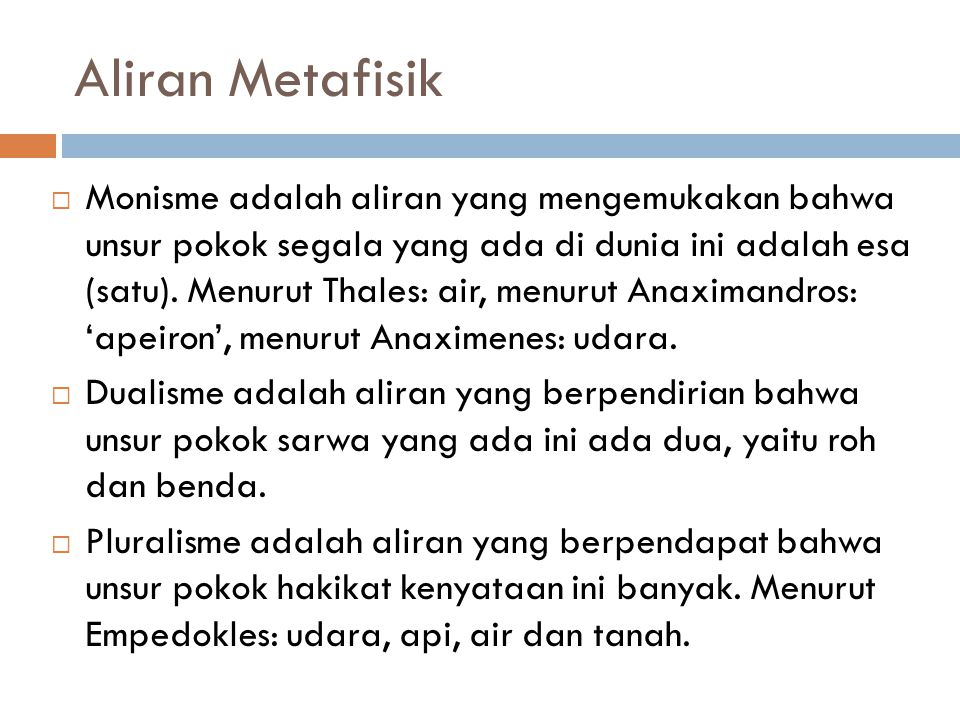 Aliran Metafisik
