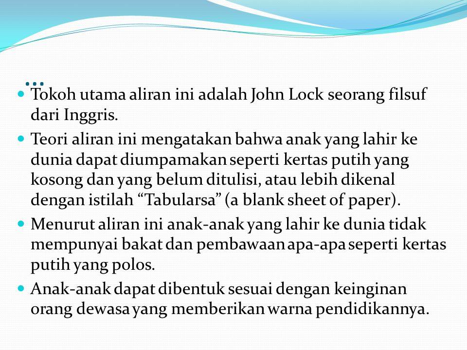 … Tokoh utama aliran ini adalah John Lock seorang filsuf dari Inggris.