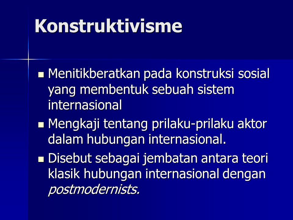 Konstruktivisme Menitikberatkan pada konstruksi sosial yang membentuk sebuah sistem internasional.