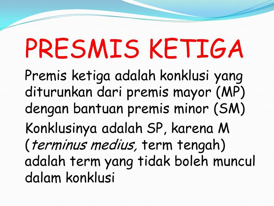 PRESMIS KETIGA Premis ketiga adalah konklusi yang diturunkan dari premis mayor (MP) dengan bantuan premis minor (SM)