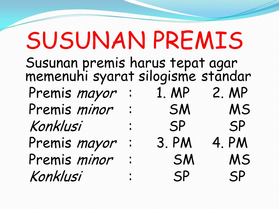 Premis mayor : 1. MP 2. MP Premis minor : SM MS Konklusi : SP SP