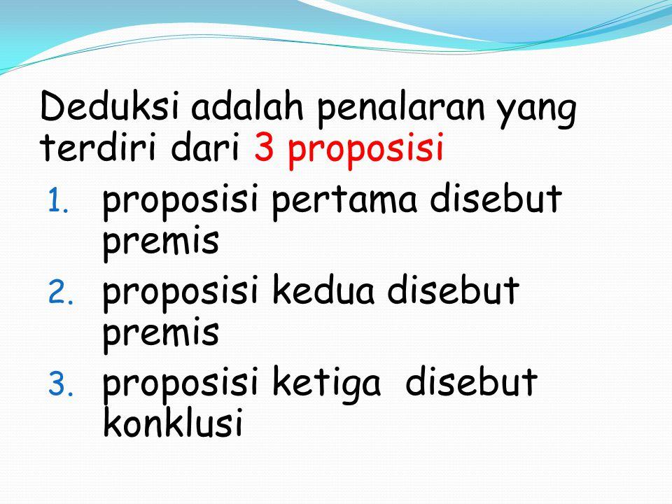 proposisi pertama disebut premis proposisi kedua disebut premis