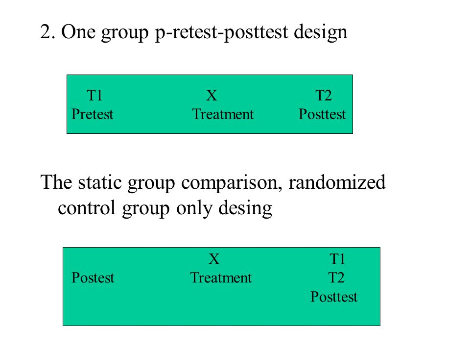 2. One group p-retest-posttest design