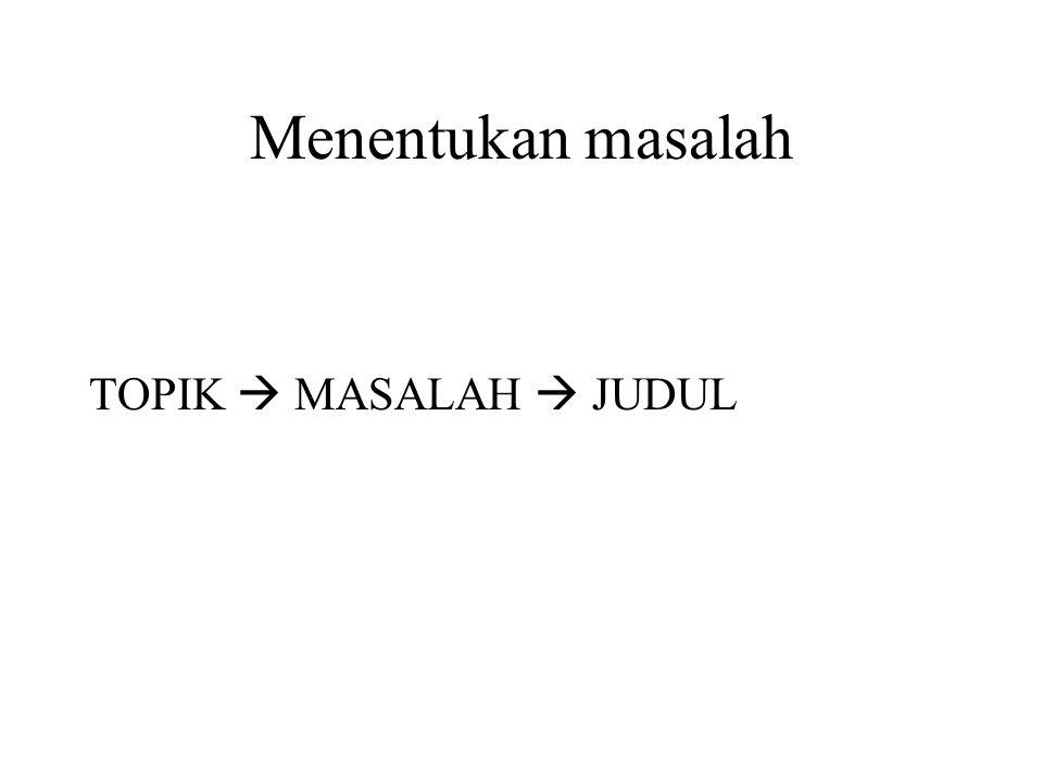 Menentukan masalah TOPIK  MASALAH  JUDUL