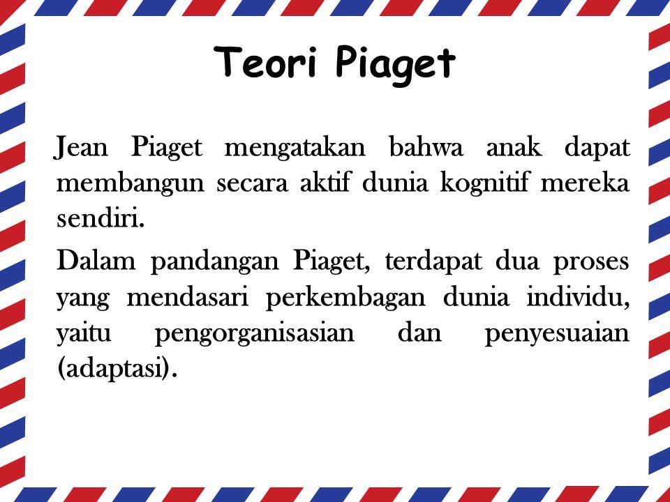 Teori Piaget Jean Piaget mengatakan bahwa anak dapat membangun secara aktif dunia kognitif mereka sendiri.