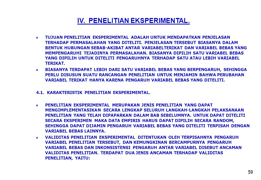 IV. PENELITIAN EKSPERIMENTAL.
