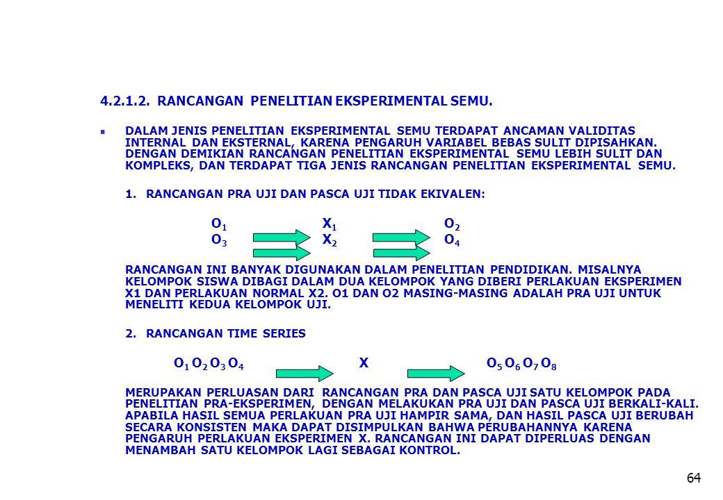 4.2.1.2. RANCANGAN PENELITIAN EKSPERIMENTAL SEMU.