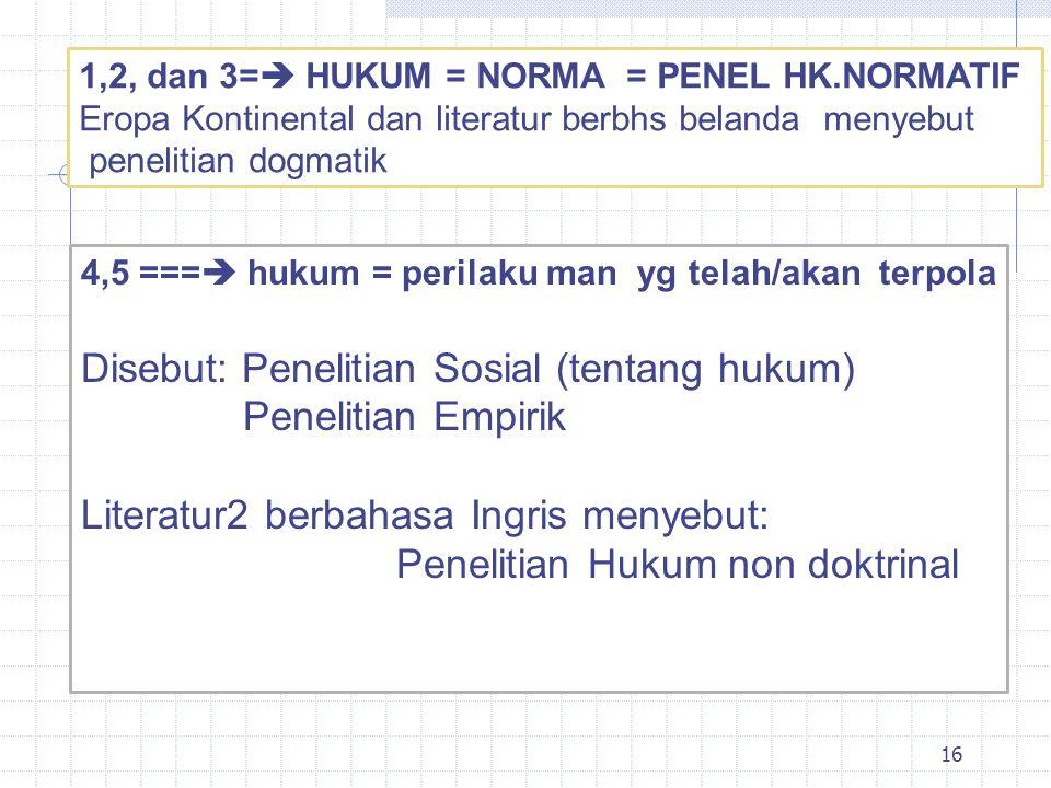 Disebut: Penelitian Sosial (tentang hukum) Penelitian Empirik