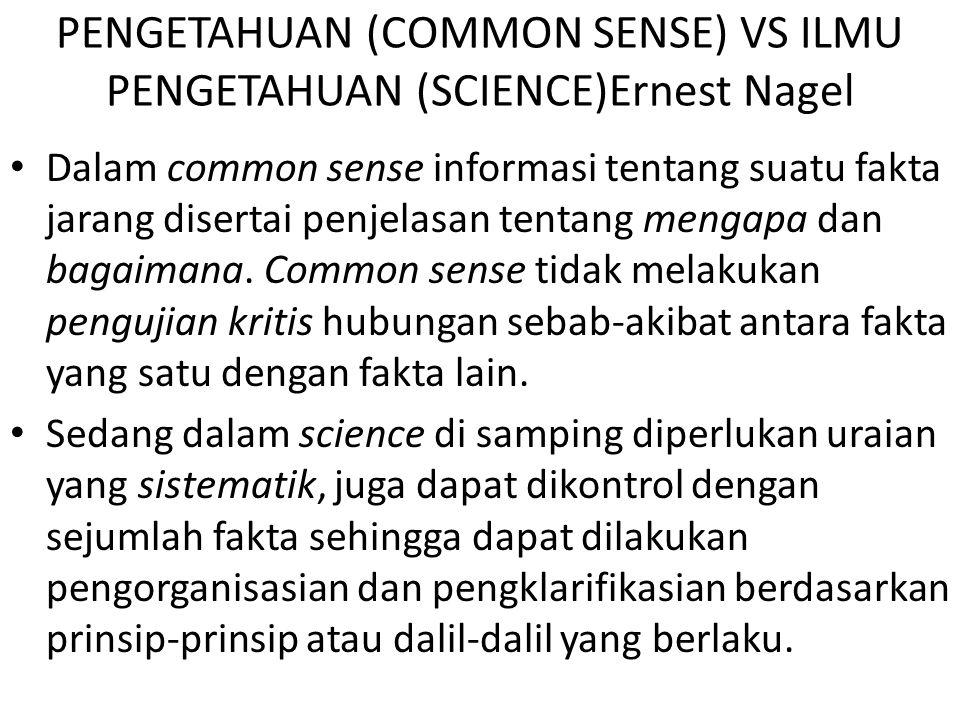 PENGETAHUAN (COMMON SENSE) VS ILMU PENGETAHUAN (SCIENCE)Ernest Nagel