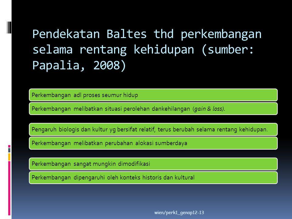 Pendekatan Baltes thd perkembangan selama rentang kehidupan (sumber: Papalia, 2008)