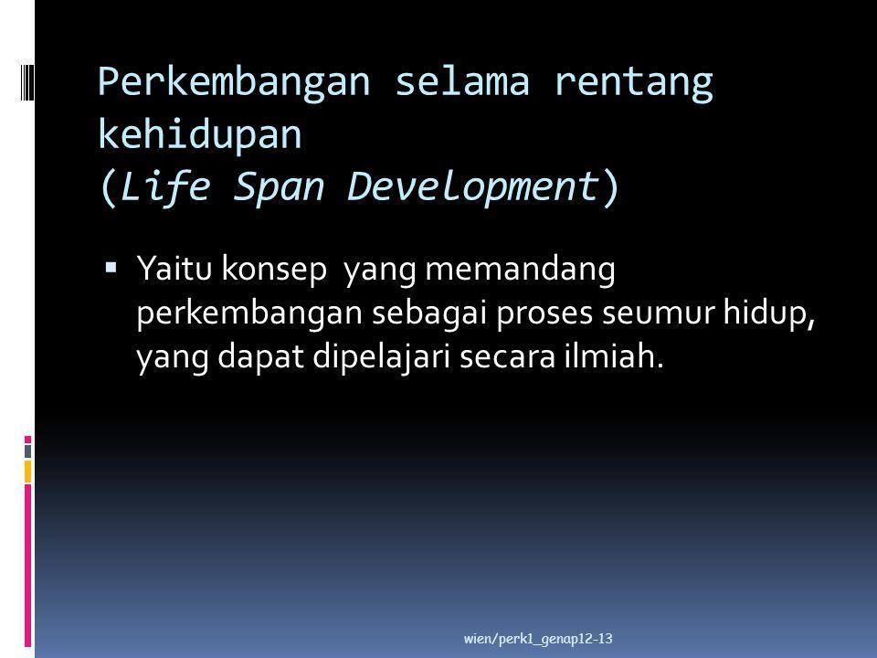 Perkembangan selama rentang kehidupan (Life Span Development)