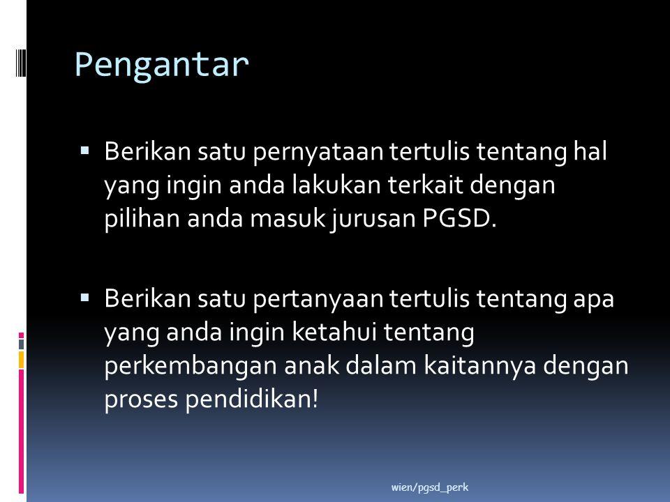 Pengantar Berikan satu pernyataan tertulis tentang hal yang ingin anda lakukan terkait dengan pilihan anda masuk jurusan PGSD.