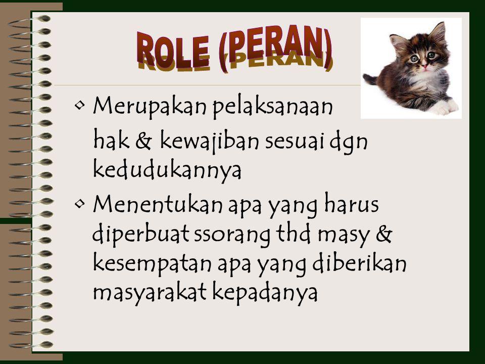 ROLE (PERAN) Merupakan pelaksanaan. hak & kewajiban sesuai dgn kedudukannya.