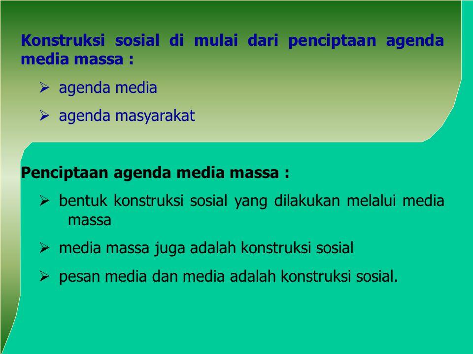 Konstruksi sosial di mulai dari penciptaan agenda media massa :