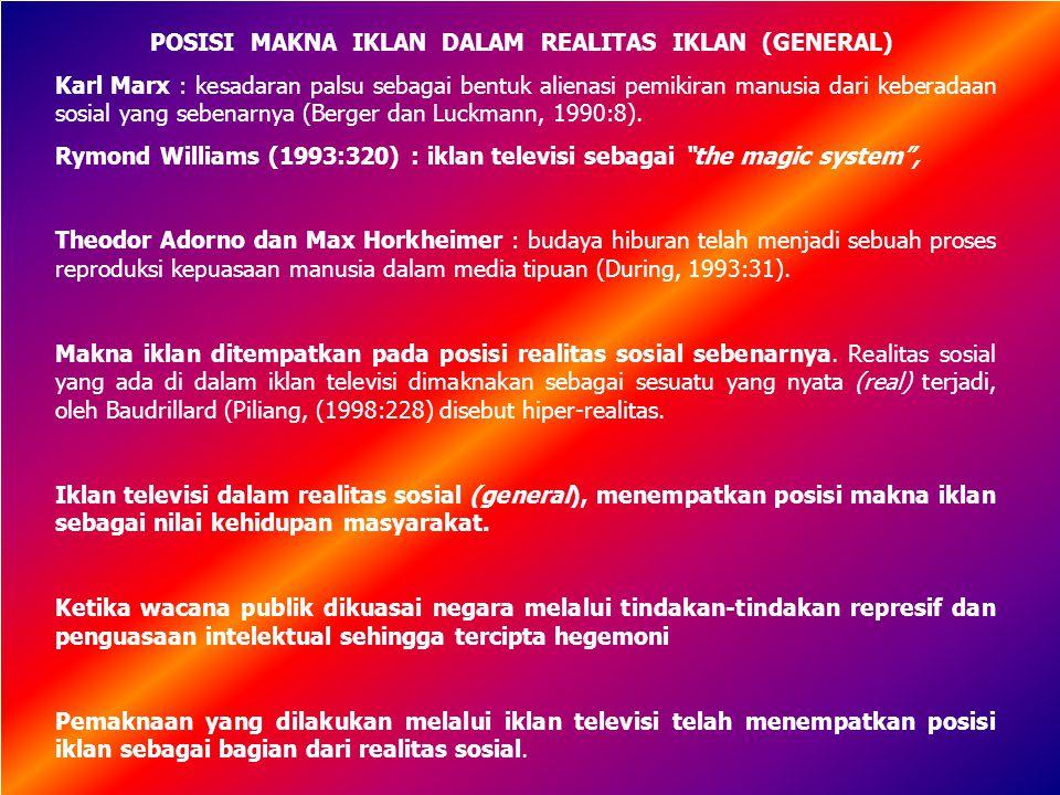 POSISI MAKNA IKLAN DALAM REALITAS IKLAN (GENERAL)
