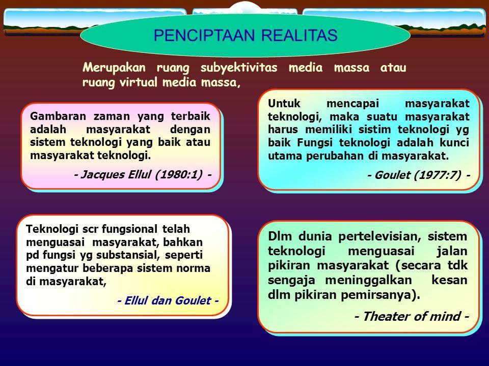 PENCIPTAAN REALITAS Merupakan ruang subyektivitas media massa atau ruang virtual media massa,