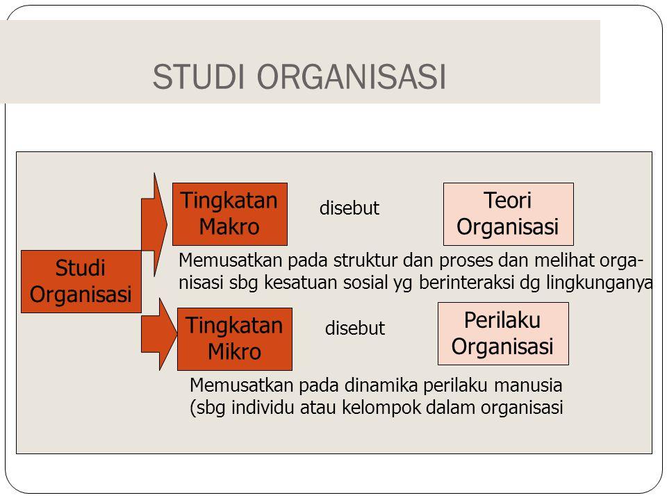 STUDI ORGANISASI Tingkatan Makro Teori Organisasi Studi Organisasi