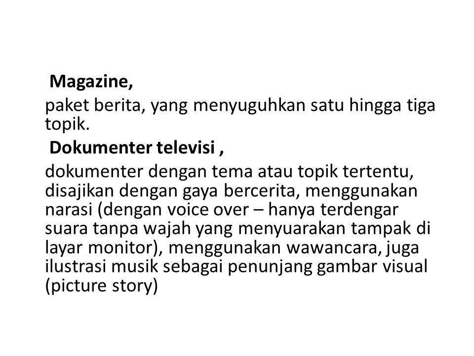 Magazine, paket berita, yang menyuguhkan satu hingga tiga topik. Dokumenter televisi ,