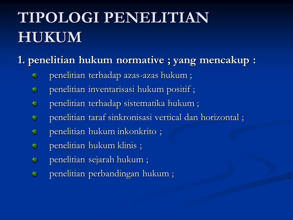 TIPOLOGI PENELITIAN HUKUM