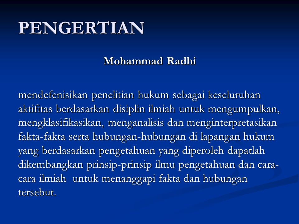 PENGERTIAN Mohammad Radhi