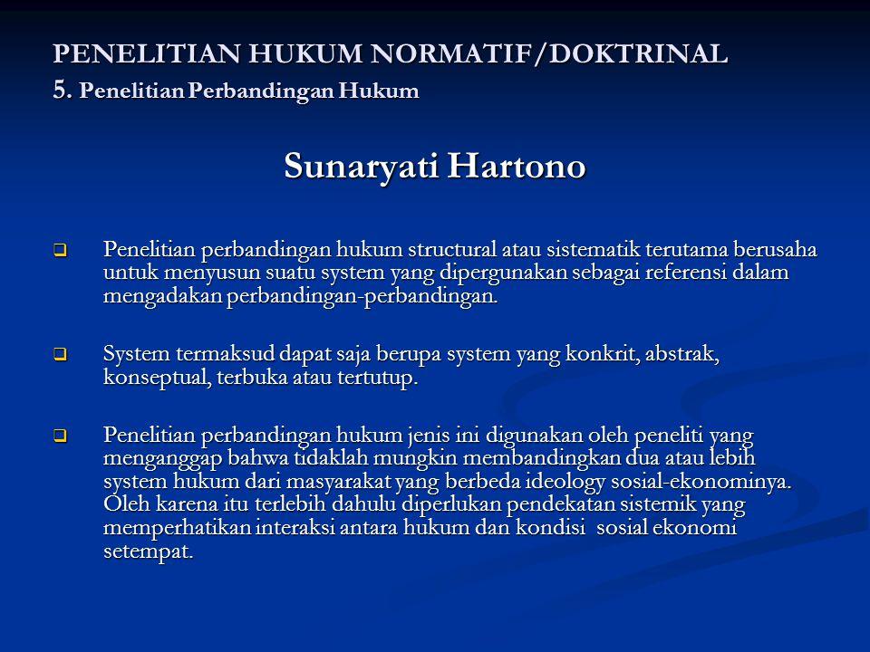 PENELITIAN HUKUM NORMATIF/DOKTRINAL 5. Penelitian Perbandingan Hukum
