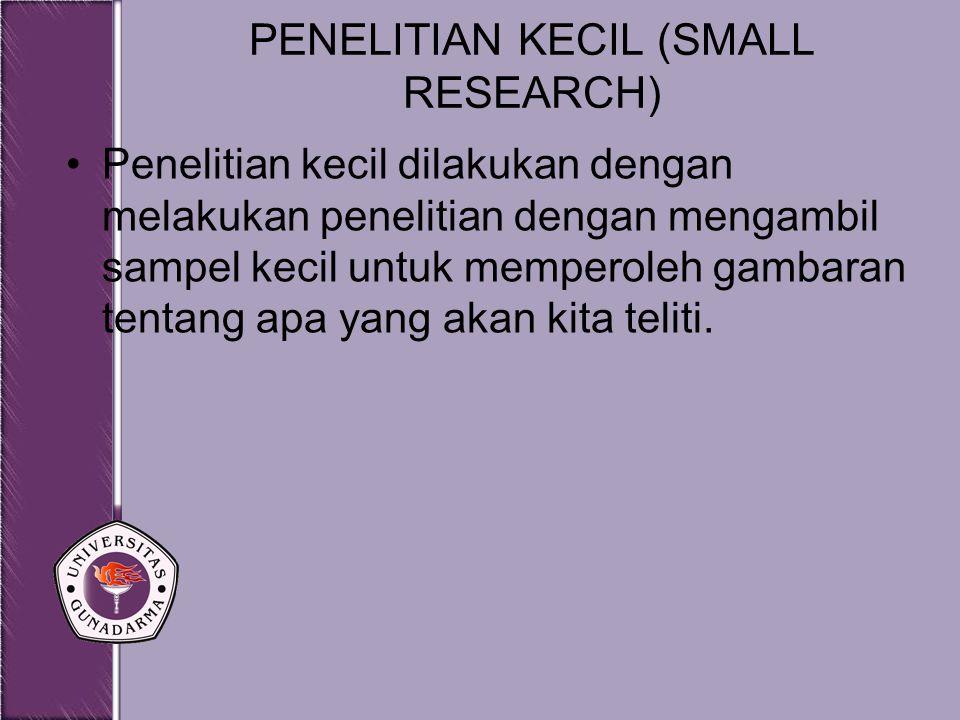PENELITIAN KECIL (SMALL RESEARCH)