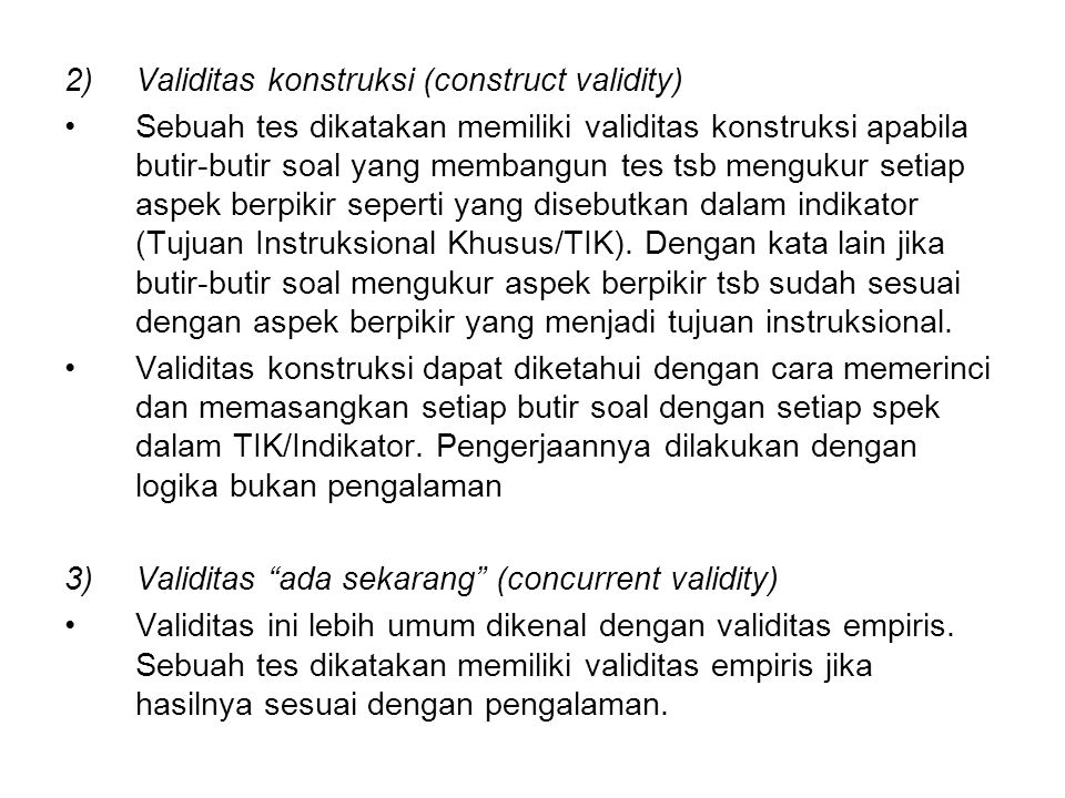 Validitas konstruksi (construct validity)