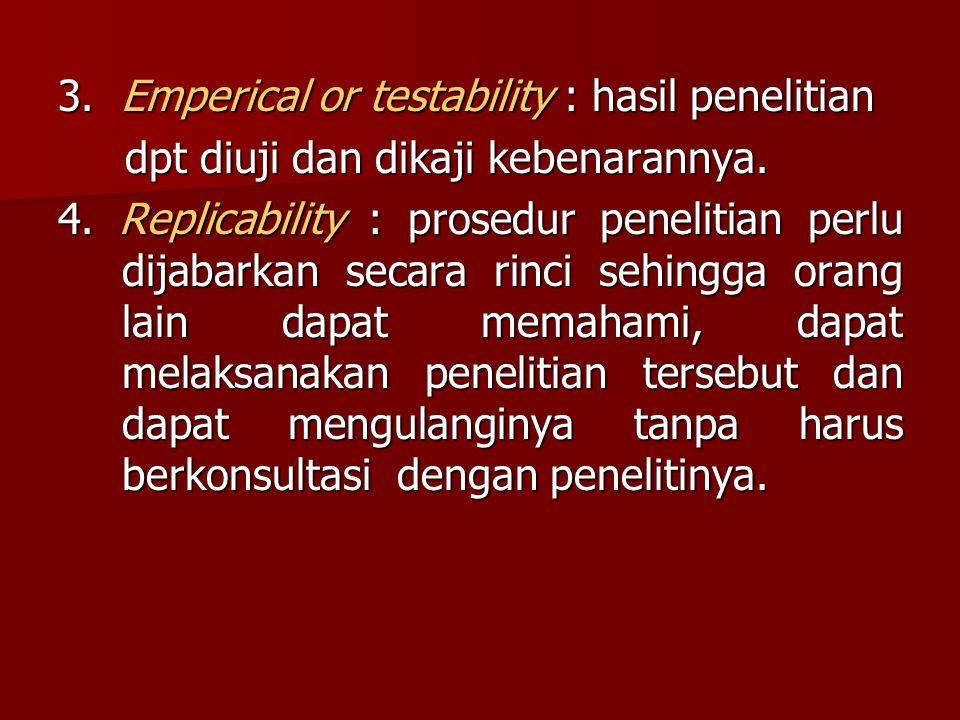 3. Emperical or testability : hasil penelitian