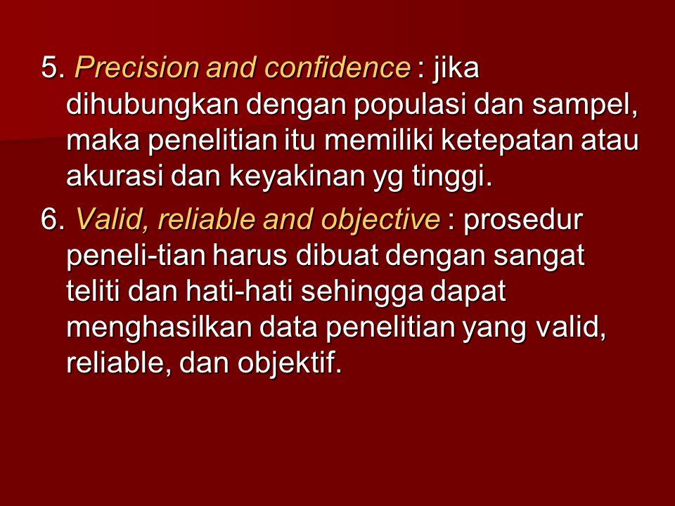 5. Precision and confidence : jika dihubungkan dengan populasi dan sampel, maka penelitian itu memiliki ketepatan atau akurasi dan keyakinan yg tinggi.