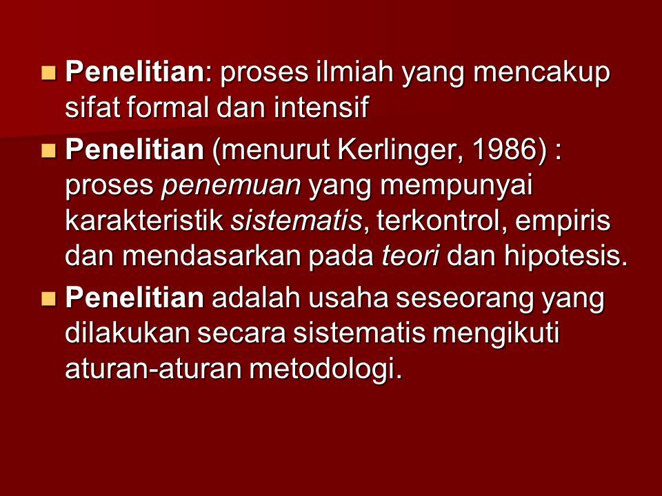 Penelitian: proses ilmiah yang mencakup sifat formal dan intensif