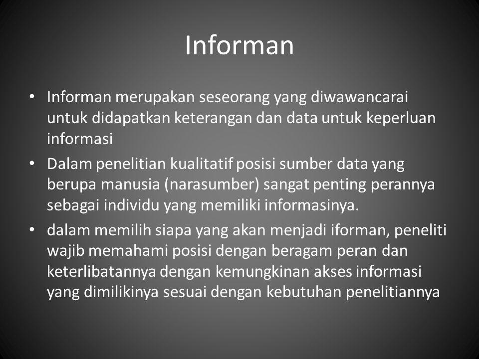 Informan Informan merupakan seseorang yang diwawancarai untuk didapatkan keterangan dan data untuk keperluan informasi.