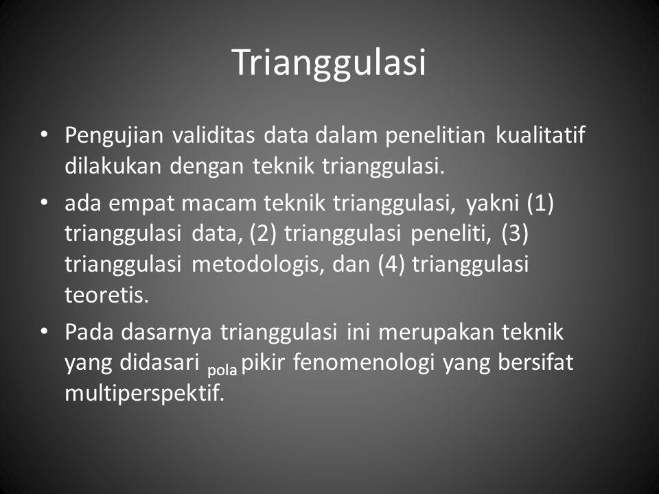 Trianggulasi Pengujian validitas data dalam penelitian kualitatif dilakukan dengan teknik trianggulasi.