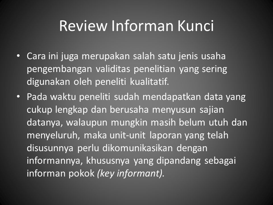Review Informan Kunci